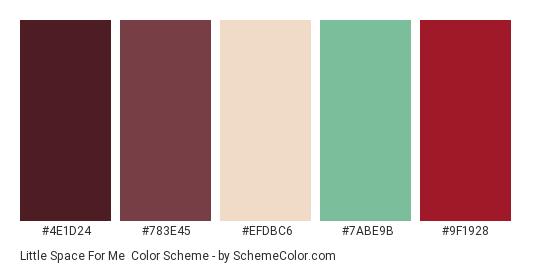 Little Space for Me - Color scheme palette thumbnail - #4e1d24 #783e45 #efdbc6 #7abe9b #9f1928