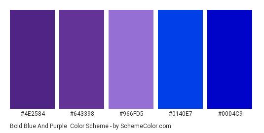 Bold Blue and Purple - Color scheme palette thumbnail - #4e2584 #643398 #966fd5 #0140e7 #0004c9