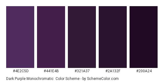 Dark Purple Monochromatic - Color scheme palette thumbnail - #4e2c5d #441e4b #321a37 #2a132f #200a24