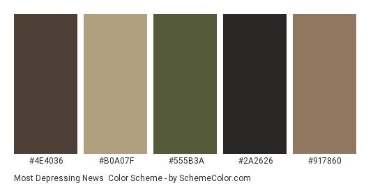 Most Depressing News - Color scheme palette thumbnail - #4e4036 #b0a07f #555b3a #2a2626 #917860