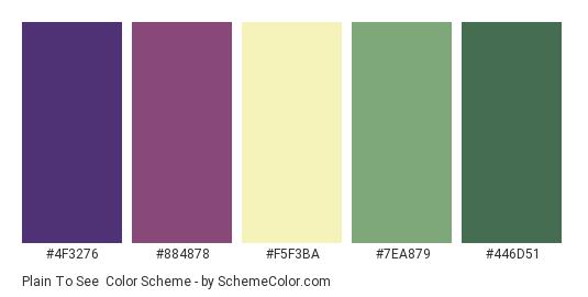 Plain to See - Color scheme palette thumbnail - #4f3276 #884878 #F5F3BA #7EA879 #446D51