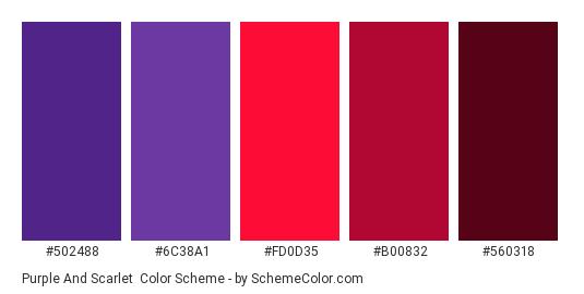 Purple and Scarlet - Color scheme palette thumbnail - #502488 #6c38a1 #fd0d35 #b00832 #560318