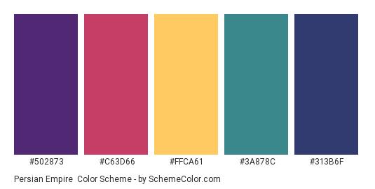 Persian Empire - Color scheme palette thumbnail - #502873 #C63D66 #FFCA61 #3A878C #313B6F