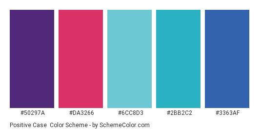 Positive Case - Color scheme palette thumbnail - #50297A #DA3266 #6CC8D3 #2BB2C2 #3363AF