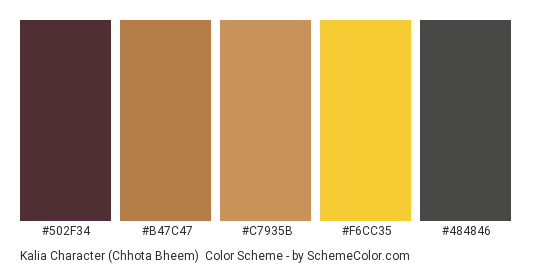 Kalia Character (Chhota Bheem) - Color scheme palette thumbnail - #502f34 #b47c47 #c7935b #f6cc35 #484846