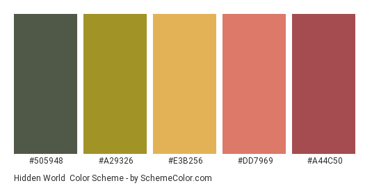 Hidden World - Color scheme palette thumbnail - #505948 #a29326 #e3b256 #dd7969 #a44c50