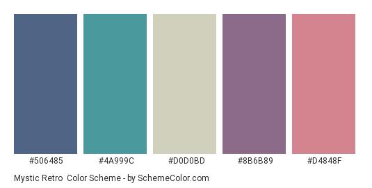 Mystic Retro - Color scheme palette thumbnail - #506485 #4a999c #d0d0bd #8b6b89 #d4848f