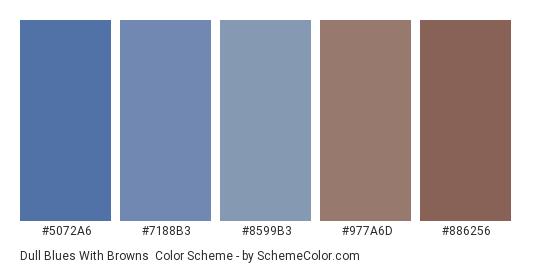 Dull Blues with Browns - Color scheme palette thumbnail - #5072A6 #7188B3 #8599B3 #977A6D #886256