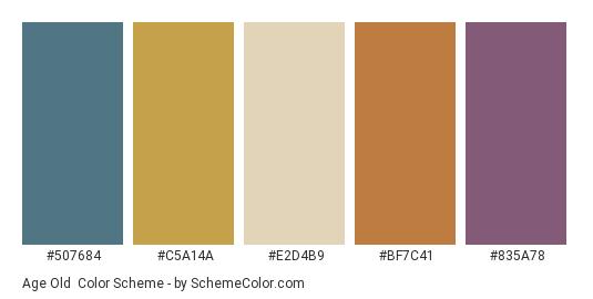 Age Old - Color scheme palette thumbnail - #507684 #c5a14a #e2d4b9 #bf7c41 #835a78
