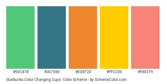 Starbucks Color Changing Cups - Color scheme palette thumbnail - #50C878 #367588 #ED872D #FFCC00 #F88379
