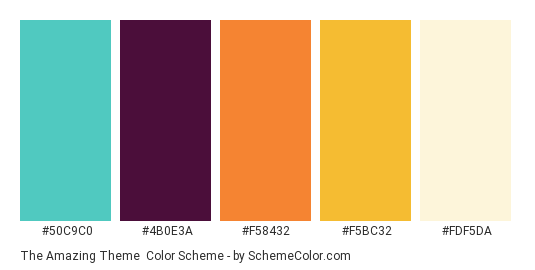 The Amazing Theme - Color scheme palette thumbnail - #50C9C0 #4B0E3A #F58432 #F5BC32 #FDF5DA