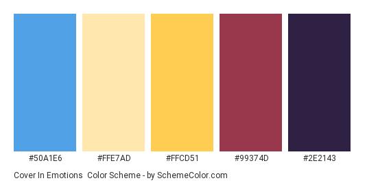 Cover in Emotions - Color scheme palette thumbnail - #50a1e6 #ffe7ad #ffcd51 #99374d #2e2143