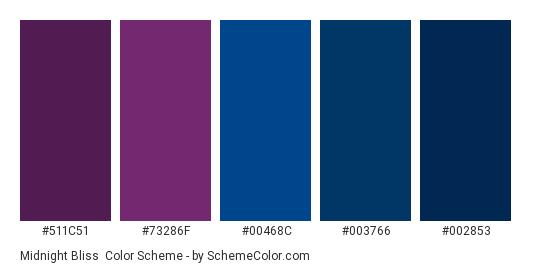 Midnight Bliss - Color scheme palette thumbnail - #511c51 #73286f #00468c #003766 #002853
