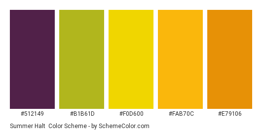 Summer Halt - Color scheme palette thumbnail - #512149 #b1b61d #f0d600 #fab70c #e79106