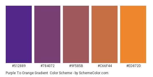 Purple to Orange Gradient - Color scheme palette thumbnail - #512889 #784072 #9F585B #C66F44 #ED872D