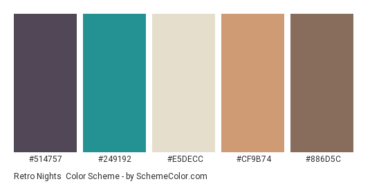 Retro Nights - Color scheme palette thumbnail - #514757 #249192 #e5decc #cf9b74 #886d5c