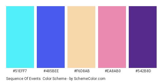 Sequence of Events - Color scheme palette thumbnail - #51eff7 #485bee #f6d8ab #ea8ab0 #542b8d