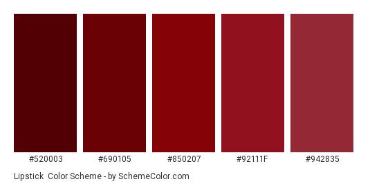 Lipstick - Color scheme palette thumbnail - #520003 #690105 #850207 #92111f #942835