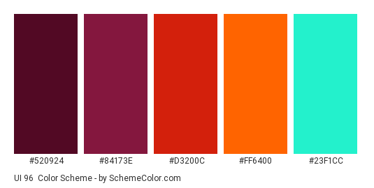 UI 96 - Color scheme palette thumbnail - #520924 #84173e #d3200c #ff6400 #23F1CC