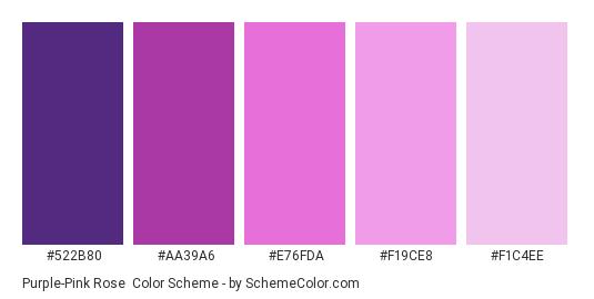 Purple-Pink Rose - Color scheme palette thumbnail - #522B80 #AA39A6 #E76FDA #F19CE8 #F1C4EE