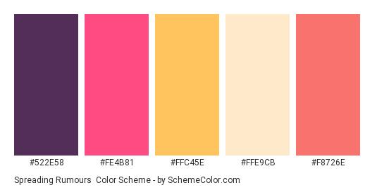 Spreading Rumours - Color scheme palette thumbnail - #522E58 #FE4B81 #FFC45E #FFE9CB #F8726E