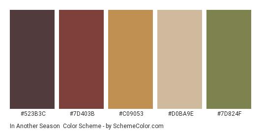 In Another Season - Color scheme palette thumbnail - #523B3C #7D403B #C09053 #D0BA9E #7D824F