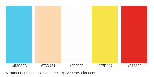 Summer Discount - Color scheme palette thumbnail - #52caeb #fcd9b1 #FDFDFD #f7e449 #e32a22