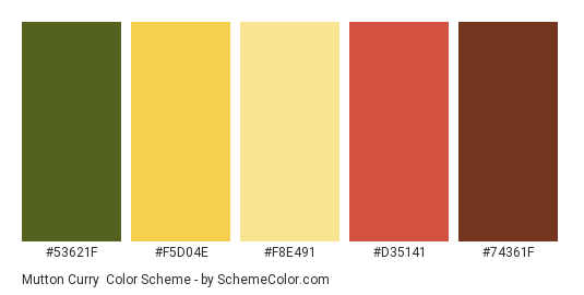 Mutton Curry - Color scheme palette thumbnail - #53621F #F5D04E #f8e491 #D35141 #74361F