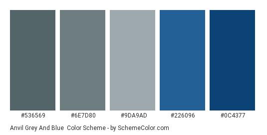 Anvil Grey and Blue - Color scheme palette thumbnail - #536569 #6e7d80 #9da9ad #226096 #0c4377