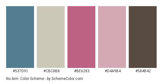No Aim - Color scheme palette thumbnail - #537D91 #CBC8B8 #BE6283 #D4A9B4 #584B42