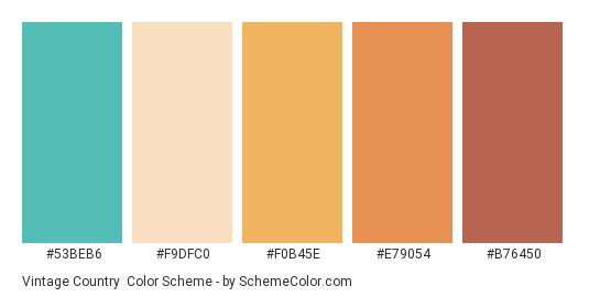 Vintage Country - Color scheme palette thumbnail - #53beb6 #f9dfc0 #f0b45e #e79054 #b76450