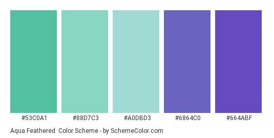 Aqua Feathered - Color scheme palette thumbnail - #53c0a1 #88d7c3 #a0dbd3 #6864c0 #664abf