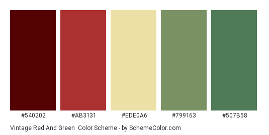 Vintage Red and Green - Color scheme palette thumbnail - #540202 #AB3131 #EDE0A6 #799163 #507B58