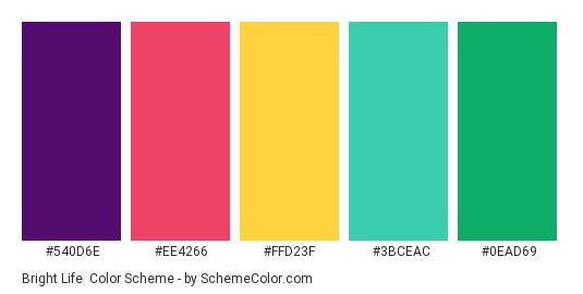 Bright Life - Color scheme palette thumbnail - #540d6e #ee4266 #ffd23f #3bceac #0ead69