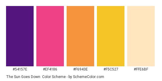 The Sun Goes Down - Color scheme palette thumbnail - #54157E #EF4186 #F6943E #F5C527 #FFE6BF