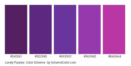 Lovely Purples - Color scheme palette thumbnail - #542061 #5D2980 #69359C #9639AD #BA36A4