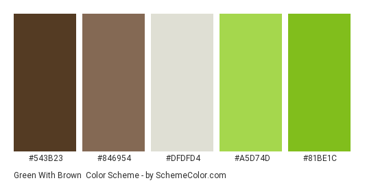 Green With Brown Color Scheme Palette Thumbnail 543b23 846954 Dfdfd4