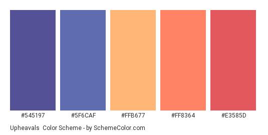 Upheavals - Color scheme palette thumbnail - #545197 #5F6CAF #FFB677 #FF8364 #E3585D