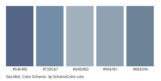 Sea Mist - Color scheme palette thumbnail - #546486 #728CA7 #A0B0BD #90A1B1 #6B8396