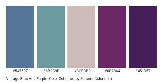 Vintage Blue and Purple - Color scheme palette thumbnail - #547597 #6b9b9f #ccbbb9 #6b2864 #451d57