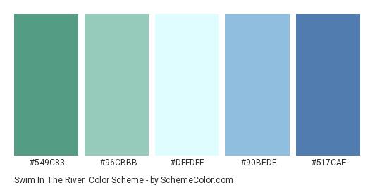 Swim in the River - Color scheme palette thumbnail - #549C83 #96CBBB #DFFDFF #90BEDE #517CAF