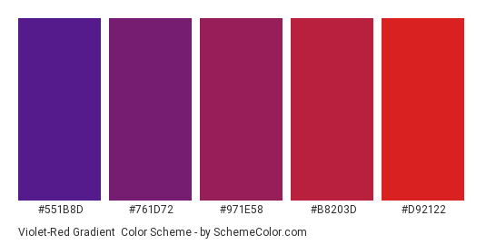 Violet-Red Gradient - Color scheme palette thumbnail - #551B8D #761D72 #971E58 #B8203D #D92122