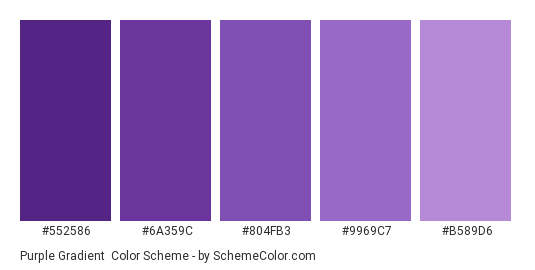 Purple Gradient - Color scheme palette thumbnail - #552586 #6a359c #804fb3 #9969c7 #b589d6