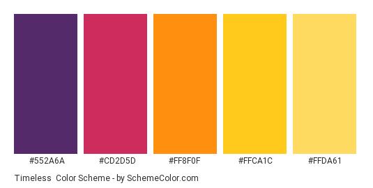 Timeless - Color scheme palette thumbnail - #552A6A #CD2D5D #FF8F0F #FFCA1C #FFDA61