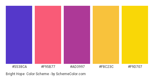 Bright Hope - Color scheme palette thumbnail - #5538ca #f95b77 #ad3997 #f8c23c #f9d707