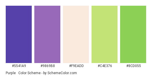 Purple & Green - Color scheme palette thumbnail - #5541a9 #9869b8 #F9EADD #C4E376 #8CD055