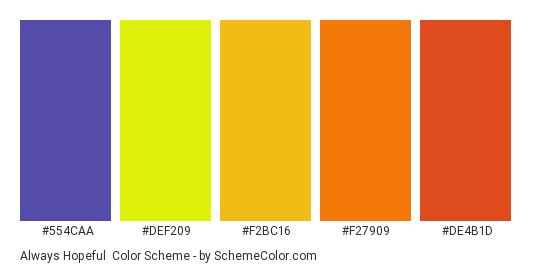 Always Hopeful - Color scheme palette thumbnail - #554CAA #DEF209 #F2BC16 #F27909 #DE4B1D