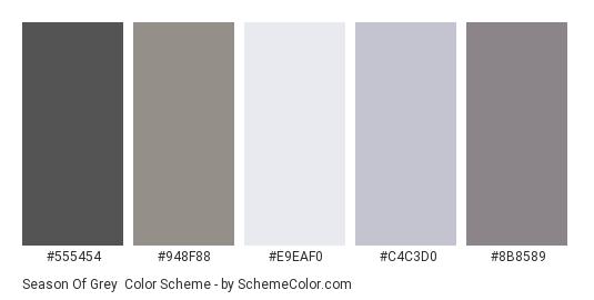 Season of Grey - Color scheme palette thumbnail - #555454 #948F88 #E9EAF0 #C4C3D0 #8B8589