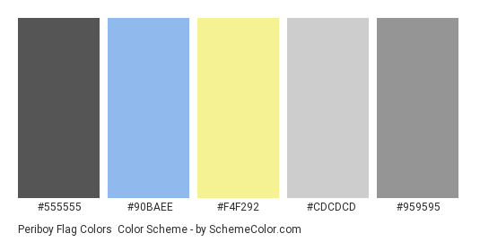 Periboy Flag Colors - Color scheme palette thumbnail - #555555 #90baee #F4F292 #cdcdcd #959595