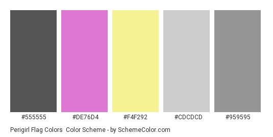 Perigirl Flag Colors - Color scheme palette thumbnail - #555555 #de76d4 #F4F292 #cdcdcd #959595